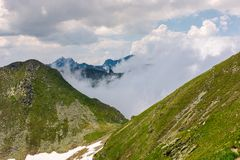Mountainous landscape on a cloudy summer day. Beautiful nature scenery on high altitude. Capra peak, Fagaras mountains, Romania Stock Photos