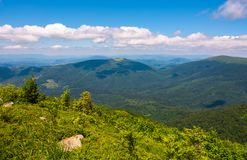 Mountainous landscape on fine summer day. Some clouds in a distance on a blue sky Stock Image