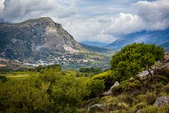 Mountainous landscape of inland Crete, Greece. Valley with villages stock photography