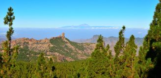 Mountainous landscape with pines, blue sky and Ten. Landscapes from the summit of Gran canaria Royalty Free Stock Photos