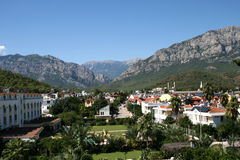 Mountainous landscape resort stock images