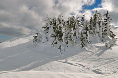 Winter mountain landscape. Snow at high altitude - Ciucas Mountains, landmark attraction in Romania Royalty Free Stock Photos
