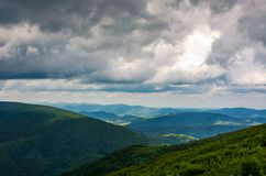 Mountainous landscape before the storm. Lovely scenery under the menacing heavy grey sky Stock Photography