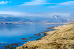 Mountainous landscape. Top of a mountain in the Westfjords covered in clouds royalty free stock images