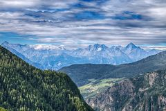 Mountainous landscape of Val D`Aosta, Italy. royalty free stock image