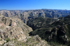 Mountainous landscapes of Copper Canyons in Chihuahua, Mexico. Mountainous landscapes of Copper Canyons, panoramic view, Chihuahua, Mexico Stock Image