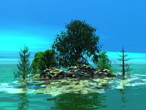Mountainous little island with trees. 3D illustration Royalty Free Stock Image