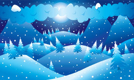 Mountainous night winter scene Royalty Free Stock Photography