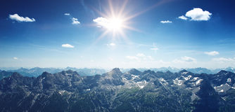 Mountainous panoramic landscape with the Alps Royalty Free Stock Photo