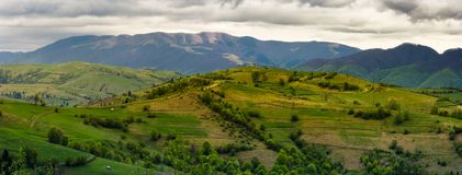 Mountainous rural area in springtime. Beautiful countryside panorama of rolling hills on a cloudy day Royalty Free Stock Photo
