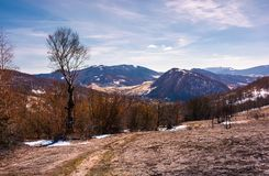 Mountainous scenery of Uzhansky National Park. Leafless forest on hills with weathered grass and some snow in springtime Royalty Free Stock Images