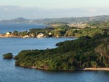Mountainous Shoreline on Caribbean Sea. Forested jungles Isla Roatan Honduras Stock Photos