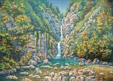 Mountainous summer landscape with a three-stage waterfall Nameless. Sochi National Park. Author: Nikolay Sivenkov. stock illustration