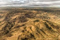 Mountainous Terrain of Madagascar. Aerial view of the of the mountainous terrain of the highland areas of Madagascar Royalty Free Stock Photos