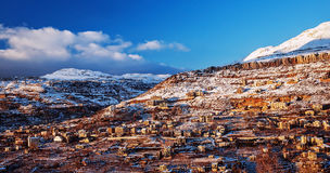 Mountainous town in winter Royalty Free Stock Image
