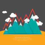 Mountainous. Vector illustration of mountain range with conceptual ups and downs of business Royalty Free Stock Images