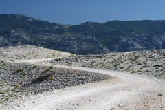 Mountainous way. This photo introduces  mountainous way with bends Royalty Free Stock Image