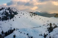 Mountainous winter scenery at dawn. Forested hills and distant alpine meadow in snow under the cloudy sky stock images