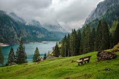 Mountains湖Gosau在奥地利阿尔卑斯 免版税库存图片