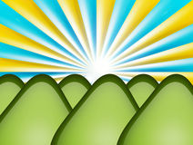 Mountains. Green mountains  with sun rays. abstract illustration Stock Images