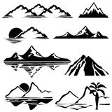 Mountains. Set of  icons of silhouettes of the mountains Royalty Free Stock Photography