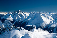 Mountains. Alp mountain peaks in sunny day royalty free stock photos