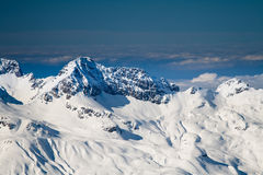 Mountains. Alp mountain peaks in sunny day royalty free stock image
