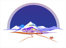 Mountains. Stylized vector image of landscape with snowy mountains vector illustration