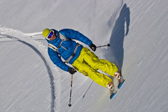 In the mountains. Freerider on the slope, Caucasus mountains Stock Photo