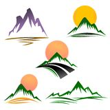 Mountains. Set of mountain icons isolated in white Stock Images