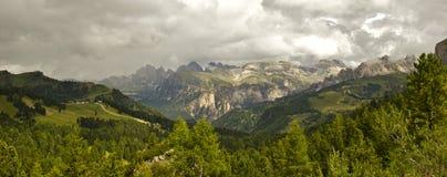 Mountains. A panoramic view of European mountains. Dolomite Alpes in Italy Stock Photos