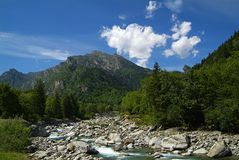 Mountains. Mountain panorama of the northern Piedmont in Italy Royalty Free Stock Photo