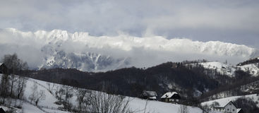 Mountains. Snowy mountains near Bran castle royalty free stock image