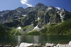 Mountains. Climbing on the highest peak in Polish mountain stock photos