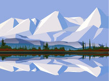 Mountains. Vector illustration - snow mountain tops. by the lake Stock Photo
