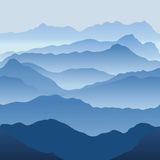 Mountains. In a fog. Seamless vector illustration Stock Image