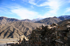 Mountains. And stone wall, Morocco royalty free stock photo