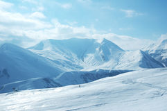 Mountains. Under the snow on a winter day Royalty Free Stock Image