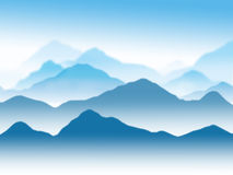 Mountains. An illustration of Mountains in the mist stock illustration