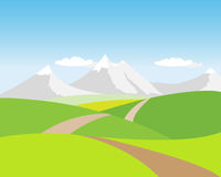 Mountains. Illustrated landscape with hills and mountains and away Royalty Free Stock Image