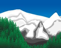 Mountains. Vector illustration  snow mountain.Forest Royalty Free Stock Photography