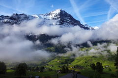 Mountains Above Swiss Grindelwald Royalty Free Stock Photography