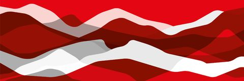 Red and gray mountains, translucent waves, abstract glass shapes, modern background, vector design Illustration for you project stock illustration