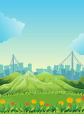 Mountains across the tall buildings Royalty Free Stock Image