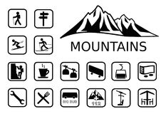 Mountains activities icon set Royalty Free Stock Image