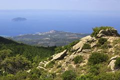 Mountains and the Aegean Sea. Stock Photo