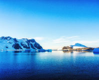 mountains against the blue sky in Antarctica Stock Photography