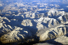 Mountains of Alaska. Aerial view of Alaska from 33,000 ft Royalty Free Stock Images