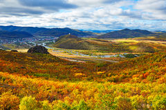 The mountains all red and storied dip _autumn Stock Images