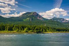 Mountains along the Columbia River, in the Columbia River Gorge, Oregon. royalty free stock image